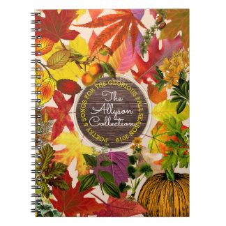 Fall Autumn Leaves Collage Monogram Vintage Wood Notebook