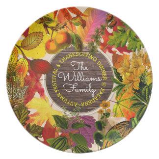 Fall Autumn Leaves Collage Monogram Vintage Wood Plate