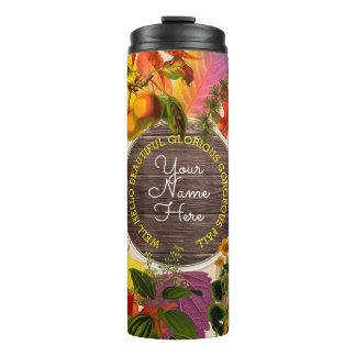 Fall Autumn Leaves Collage Monogram Vintage Wood Thermal Tumbler