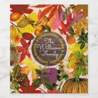 Fall Autumn Leaves Collage Monogram Vintage Wood Wine Label