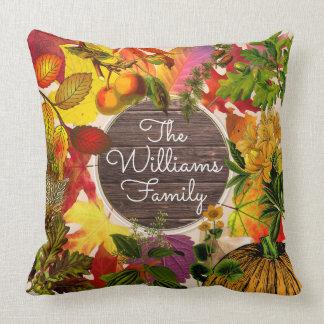 Fall Autumn Leaves Collage Vintage Wood Monogram Cushion