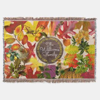 Fall Autumn Leaves Collage Vintage Wood Monogram Throw Blanket