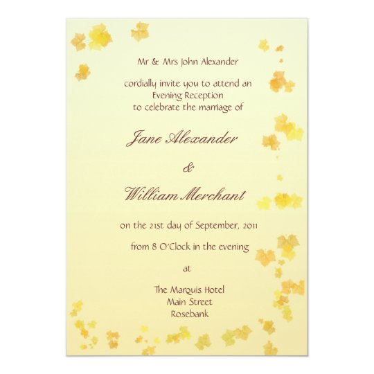 Fall / Autumn Leaves Evening Wedding Invitation