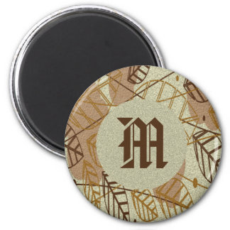 Fall Autumn Leaves Flower Floral Brown Tan Pattern Magnet