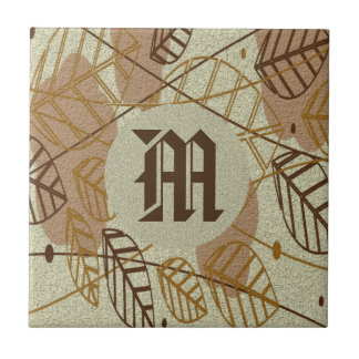 Fall Autumn Leaves Flower Floral Brown Tan Pattern Tile