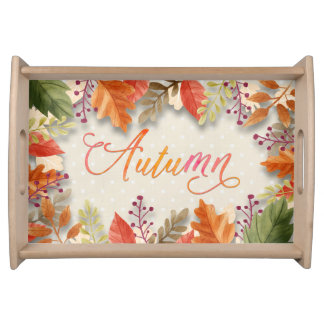 "Fall - Autumn Leaves Framed Beig ""Autumn"" Word Art Serving Tray"