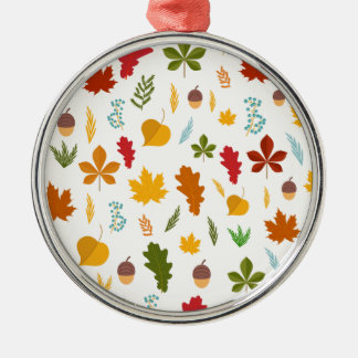 Fall Autumn leaves Seasonal decoritive thankgiving Silver-Colored Round Decoration
