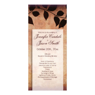 Fall Autumn Leaves Vertical Wedding Programs Rack Card