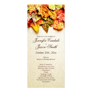 Fall Autumn Leaves Vertical Wedding Programs Rack Card Design