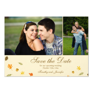 Fall autumn leaves wedding save the date 2 photo 13 cm x 18 cm invitation card