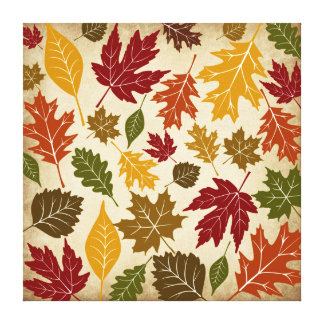 Fall Autumn Leaves Wrapped Canvas Wall Art Stretched Canvas Print