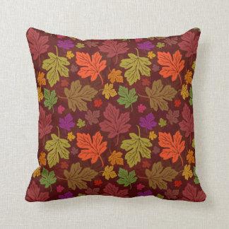 Fall Autumn Maple Leaf Colorful Foliage Pattern Throw Cushion