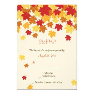 Fall Autumn Maple Leaf Wedding RSVP card 9 Cm X 13 Cm Invitation Card