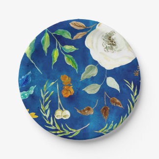 Fall Autumn Modern Leaf Floral Seeds Acorn Painted Paper Plate