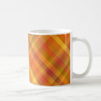 Fall Autumn Orange Plaid Pattern Basic White Mug