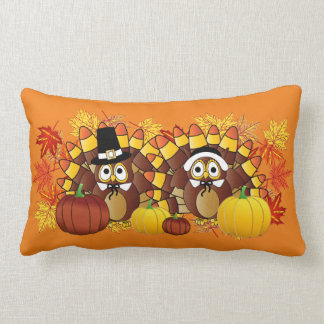 Fall Autumn Owl Turkey Pilgrims | Thanksgiving Lumbar Cushion