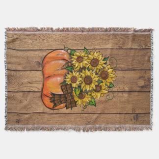 Fall Autumn Pumpkin with Sunflowers Throw Blanket