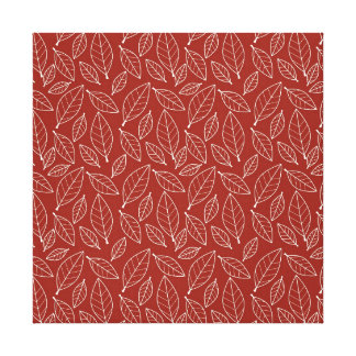 Fall Autumn Red Leaf Leaves Pattern Gallery Wrapped Canvas