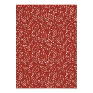 Fall Autumn Red Leaf Leaves Pattern Custom Invitations
