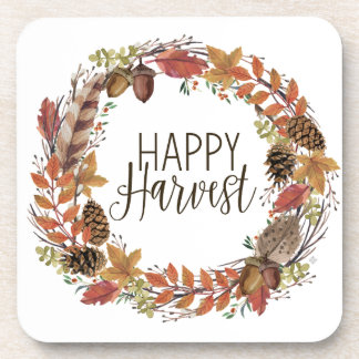 fall autumn watercolor wreath coaster