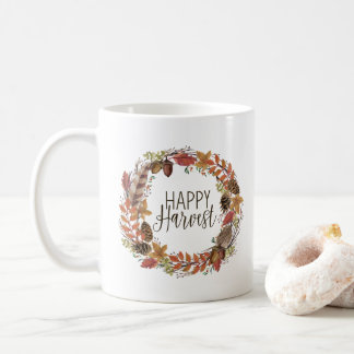 fall autumn watercolor wreath coffee mug
