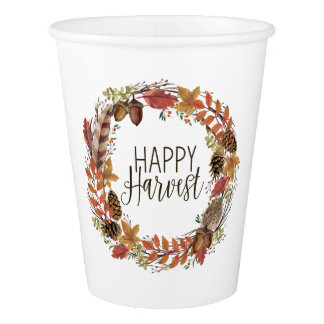 fall autumn watercolor wreath paper cup