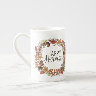 fall autumn watercolor wreath tea cup