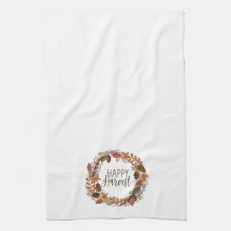 fall autumn watercolor wreath tea towel