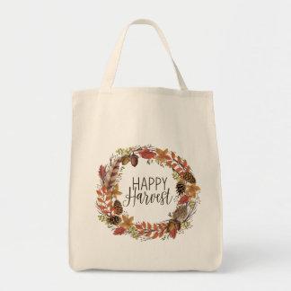 fall autumn watercolor wreath tote bag