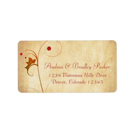 Fall Autumn Wedding Vine Berries Return Address Label