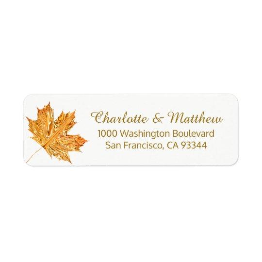 Fall Autumn White Gold Leaf Wedding Return Address Return Address Label