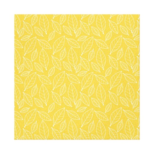 Fall Autumn Yellow Golden Leaf Leaves Pattern Gallery Wrap Canvas