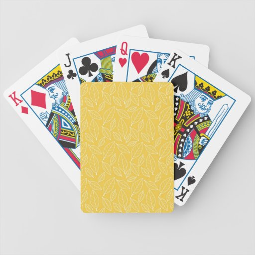 Fall Autumn Yellow Golden Leaf Leaves Pattern Bicycle Card Decks