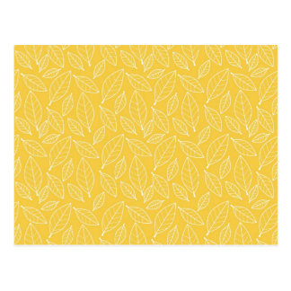 Fall Autumn Yellow Golden Leaf Leaves Pattern Postcard