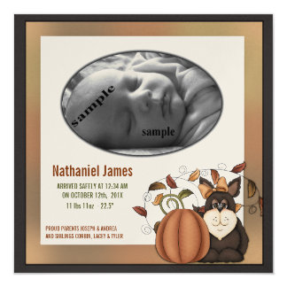 Fall Baby Birth Announcement Cute Prim Folkart