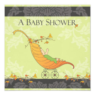 Fall Baby Shower | Leaf Carriage 13 Cm X 13 Cm Square Invitation Card