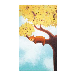 Fall Bear Nursery Art Sleepy Bear Extra Large Stretched Canvas Print