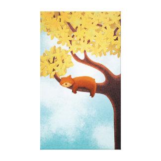 Fall Bear Nursery Art Sleepy Bear Large Stretched Canvas Prints