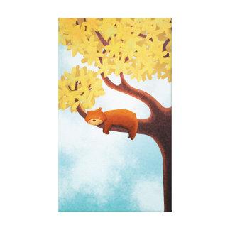 Fall Bear Nursery Art Sleepy Bear Medium Canvas Print