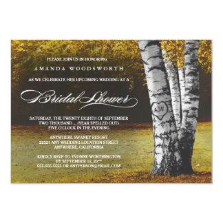 Fall Birch Tree Rustic Bridal Shower Invitations
