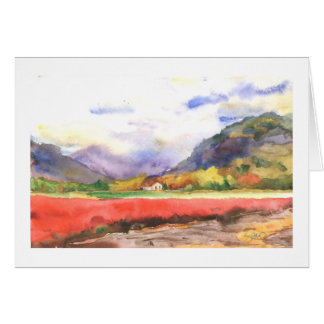 Fall blueberry fields and mountains card