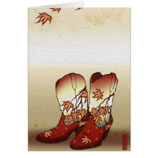 Fall Boots with Maple Leaf Motif Card