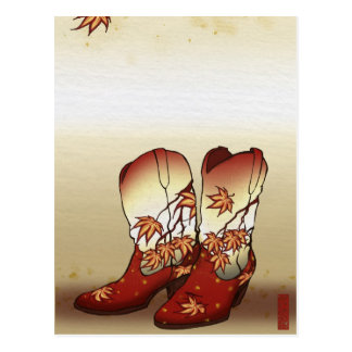 Fall Boots with Maple Leaf Motif Postcard