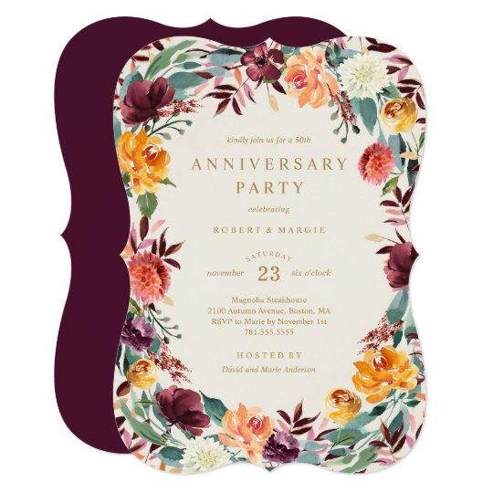 Fall Border Anniversary Party Invitation