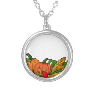 fall border silver plated necklace
