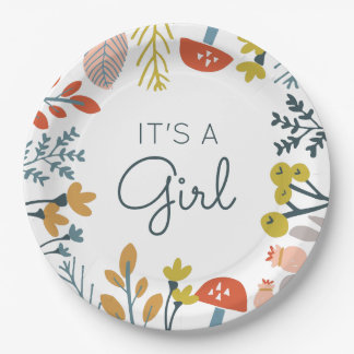 Fall Botanical Baby Shower 9 Inch Paper Plate