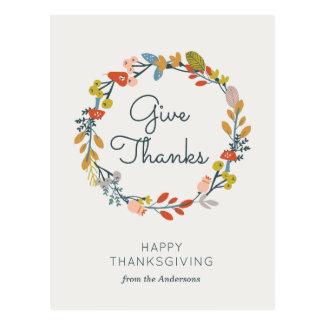 Fall Botanical Thanksgiving Postcard