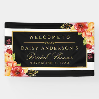 Fall Bridal Shower Autumn Gold Red Floral Stripes Banner