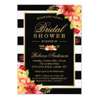 Fall Bridal Shower Autumn Gold Red Floral Stripes Card