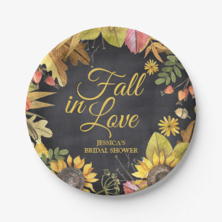 Fall Bridal Shower Chalkboard Rustic Sunflowers Paper Plate